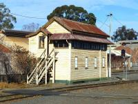 The British style main signal box (plus sunshade) at Bendigo, Victoria, in May 2013. The box is out of use, with traffic now controlled centrally.<br> <br><br>[Colin Miller&nbsp;29/05/2013]