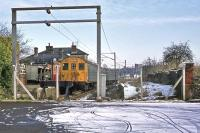 Seen only a couple of months after electric services commenced, Braintree station hosts a Class 302 unit on 21st January 1978. The disused platform on the right reveals the history of a former through station and passing point.<br><br>[Mark Dufton&nbsp;21/01/1978]