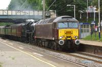 Having moved from Fort William to Carnforth on Thursday, Black 5 45407 was on the move again on 28 June heading to Bristol with ecs for a charter the following day. To help on the way, 57315 was doing the hard work with the Black 5 in light steam.<br><br>[John McIntyre&nbsp;28/06/2014]