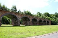 Part of the G&SWR viaduct on the Kilmarnock to Darvel line at Newmilns on 1 July 2014.<br><br>[Colin Miller&nbsp;01/07/2014]