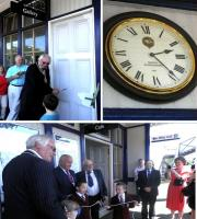 On 1 July Provost Jim Leishman of Fife, Alex Sharkey of Network Rail and the last staff member when the station became unstaffed in 1988, opened with the help of local schoolchildren the new cafe and gallery created by the North Queensferry Station Trust, who have installed a replica clock.<br><br>[John Yellowlees&nbsp;01/07/2014]