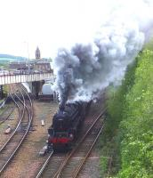 Black 5s 44871+45407 leave Perth station on 10 May 2014 with <I>The Cathedrals Explorer</I> for Inverness.<br><br>[John Robin&nbsp;10/05/2014]