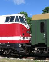 Close-up of ex-Deutsche Reichsbahn Class 118 and passenger coach at the Putbus Railfest on 14th June.<br><br>[David Spaven&nbsp;14/06/2014]