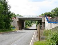The Borders Railway bridge over the A7 at Gore Glen looking south on 6 July 2014.<br><br>[John Furnevel&nbsp;06/07/2014]