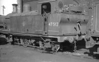 Fowler 3F 0-6-0T 47512 standing alongside Aintree shed in April 1962.<br><br>[K A Gray&nbsp;14/04/1962]