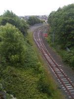 View east from River Drive bridge, South Shields, showing the run round loop from the current terminus, located just beyond the curve, with a head-shunt running below the camera  to a stop block. Alongside the loop on the right is an electrified siding used by Metro services.<br><br>[David Pesterfield&nbsp;06/07/2014]