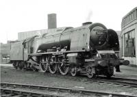 Stanier Pacific no 46238 <I>City of Carlisle</I> is standby locomotive at Upperby shed on 26 June 1964.<br><br>[John Robin&nbsp;26/06/1964]