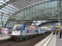 The 13.37 Berlin-Warsaw Express Eurocity service pulls out of Berlin Hauptbahnhof on 23rd June. Of six coaches on the train, no less than four were compartment stock.<br><br>[David Spaven&nbsp;23/06/2014]