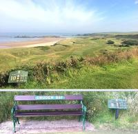 The magnificent Links at Cruden Bay, Aberdeenshire, a course developed by the GNoSR and subsequently operated by the LNER until 1939. The station and Hotel are long gone, but a reminder of the course's railway parentage adorns this tee-side seat! [See image 40796]<br><br>[Brian Taylor&nbsp;09/07/2014]