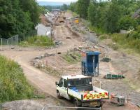 Site of the new station at Newtongrange on 4 July 2014, looking south towards Gorebridge.<br><br>[John Furnevel&nbsp;04/07/2014]