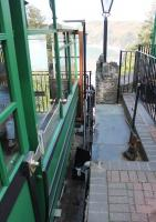 The <I>refuelling</I> process on the Lynton and Lynmouth Cliff Railway, as seen here, involves using diverted water from the River Lyn to fill the 700 gallon tank of the car at the upper level. When both cars are ready to depart, water is discharged from the lower car until the correct balance is achieved and they begin to move.  <br><br>[Mark Bartlett&nbsp;17/05/2014]
