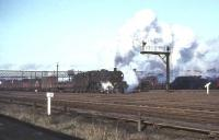 A southbound freight pulls away from Upperby yard, Carlisle, on 28 November 1964 hauled by Warrington (Dallam) based Jubilee no 45655 <I>Keith</I>.<br><br>[John Robin&nbsp;28/11/1964]