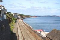 The main line at Dawlish in July 2014, looking almost back to what it was prior to the major storm damage suffered earlier this year, though with work still taking place in a number of areas and further changes currently at the planning stage [see recent news item].<br><br>[Bruce McCartney&nbsp;09/07/2014]