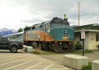 <I>Via Rail Canada</I> branded F40 PH-2 loco No.6420, and some considerably lower coaching stock, stabled in a siding at Jasper station on 12th June 2014.  <br><br>[Malcolm Chattwood&nbsp;12/06/2014]