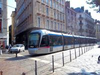 Scene on the Grenoble city tram system, Line B, in late September 2011 as Alstom Citadis-built tram 6208 slows for the stop at <I>Place Notre Dame</I>.<br><br>[Andrew Wilson&nbsp;26/09/2011]