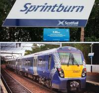 The 16.49 service to Dalmuir prepares to leave Springburn on 12 July, with the station temporarily renamed <I>Sprintburn</I> to mark the Glasgow 2014 Commonwealth Games.<br><br>[Colin Harkins&nbsp;12/07/2014]