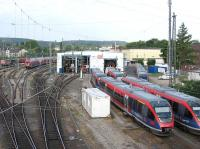 Morning scene at Aachen depot on 24th June, with Euregiobahn units in the foreground and a variety of DB stock elsewhere on the site. Aachen (Aix-la-Chapelle) is just a few miles from Germany's borders with Belgium and the Netherlands, and is a key junction for inter-regional passenger services and international freight operations.<br><br>[David Spaven&nbsp;24/06/2014]