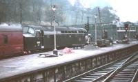 D365 with a train at the west end of Waverley in November 1966 amid construction work. The smoke is from V2 60836 with a special standing just off picture to the right [see image 47753].<br><br>[G W Robin&nbsp;05/11/1966]