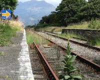 The limit of the service of the Cambrian Coast line at Harlech station in July 2014, where the rails turn rusty and the weeds begin. Gwynedd Council has announced that the line, currently closed from Harlech to Pwllheli because of problems with the rebuilding of the Pont Briwet, should reopen by 1st September.<br><br>[Colin McDonald&nbsp;09/07/2014]