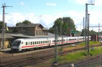 On 13th June, the 16.42 Stralsund-Ostseebad Binz IC service pauses at Bergen auf Ruegen. This popular holiday island retains a remarkable range of weekend long-distance services (both IC and ICE) from starting points as far afield as Bratislava, Erfurt, Frankfurt, Hamburg, Hannover, Kassel, Koblenz, Koeln, Konstanz, Muenchen, Nuernberg, Prague, Stuttgart and Zurich.<br><br>[David Spaven&nbsp;13/06/2014]