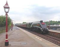 Gresley A4 60009 <i>Union of South Africa</i> slows for a water stop with the <I>Cumbrian Mountain Express</I> at Appleby on 19 July 2014.<br><br>[John Robin&nbsp;19/07/2014]