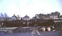 Standard tanks 80060+80046 seen across the yard at East Kilbride on the evening of 3 June 1966. The locomotives were preparing to return to Glasgow after stabling empty stock on the Blantyre spur for the night. [See image 47367]<br><br>[G W Robin&nbsp;03/06/1966]