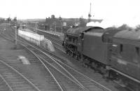 An unidentified <I>Royal Scot</I> drifts into Beattock station with a northbound train in the early 1960s prior to taking on banking assistance.<br><br>[David Stewart&nbsp;//]