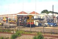 Two Class 08 locos in the north end yard at the Wabtec facility alongside Doncaster station on the morning of 14 July. 08669 is nearest the camera. <br><br>[David Pesterfield&nbsp;14/07/2014]