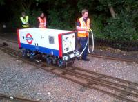 Walkies! The Transport For London team bring their scratch built locomotive into Stapleford station for testing on 28 June. Updated 31st July: this locomotive was the winning entry in the 2014 IMechE Railway Challenge [see image 47822]<br><br>[Ken Strachan&nbsp;28/06/2014]