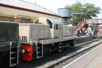 The East Lancs Railway held a 3-day <I>Class 14s @ 50</I> gala in July 2014. A highlight of the event was the return to service (after twenty years) of resident D9537, not least because it had been secretly painted in the experimental <I>Desert Sand</I> livery, complete with cast cabside crests, as carried by <I>Western</I> D1000 in 1961. The pristine loco is seen at Ramsbottom waiting to leave for Rawtenstall on 26 July.<br><br>[Mark Bartlett&nbsp;26/07/2014]