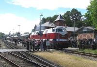 Plenty of admirers for ex-DR 118 770-7 as it hauls the empty stock of the Leipzig-Putbus charter out of Putbus on 14th June.<br><br>[David Spaven&nbsp;14/06/2014]