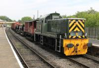 Demonstration freight at the <I>Class 14s @ 50</I> ELR gala in July 2014. The rake of wagons is entrusted to D9539, normally resident at the Ribble Steam Railway, seen here waiting at Ramsbottom for the section to Bury Bolton St to clear before heading south.   <br><br>[Mark Bartlett&nbsp;26/07/2014]