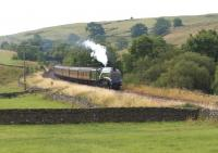 The <I>Cumbrian Mountain Express</I> on 26 July 2014 in the hands of A4 no 60009 <I>Union of South Africa</I> approaches Helwith Bridge between Settle and Horton-in-Ribblesdale. With hardly any exhaust and the safety valves lifting the A4 wasn't working hard as 57316 was providing assistance to avoid any risk of lineside fires in the dry conditions.<br><br>[John McIntyre&nbsp;26/07/2014]