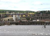 Looking across Tweedmouth Harbour towards three generations of bridges, with a northbound Voyager crossing the Royal Border Bridge on 29th July. The photographer's great great great grandfather worked as a stonemason on the rail bridge construction in 1849-50.<br><br>[David Spaven&nbsp;29/07/2014]