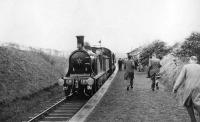 Damp day at Drongan. The BLS/SLS <I>Scottish Rambler</I> railtour calls at Drongan behind preserved Caledonian Railway locomotive 123 on 20 April 1962. The special was on its way from Muirkirk to Ayr.<br><br>[David Stewart&nbsp;20/04/1962]