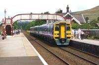 A Carlisle to Leeds service comprised of 1588816 and 153304 calls at Settle on 26 July 2014.<br><br>[John McIntyre&nbsp;26/07/2014]