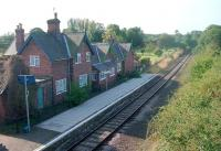 Looking south west over Hopton Heath station from the B4385 road bridge in 2002. [Ref query 10852]<br><br>[Ewan Crawford&nbsp;//2002]