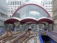 The DLR platforms at Canary Wharf on 28 July 2014, seen from the platform end at West India Quay. <br><br>[Bill Roberton&nbsp;28/07/2014]
