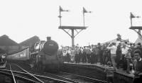 BR Standard Class 5 4-6-0 73069 at Blackburn Station on 4 August 1968 with the RCTS <I>End of Steam Commemorative Rail Tour</I>. The train is about to be joined by Black 5 45407 prior to the special continuing to Hellifield. [See image 39440]<br><br>[K A Gray 04/08/1968]