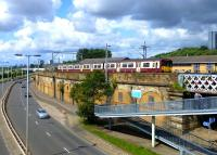 An eastbound train at Yorkhill on 7 August 2014.<br><br>[Colin Miller&nbsp;07/08/2014]