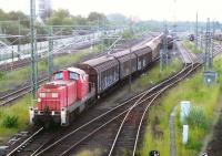 DB shunter 295-019-4 at work in the goods yard at Lubeck on the evening of 8th June 2014.<br><br>[John Steven&nbsp;08/06/2014]