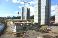 View west from Benalder Street over the site of Partick Central on 7 August 2014, with the River Kelvin on the left. Lift and stair towers are now in place for the new flats. [See image 46940]<br><br>[Colin Miller&nbsp;07/08/2014]
