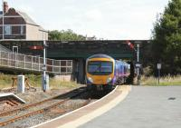 First TransPennine 185139 departs Barrow for Manchester Airport on a sunny 7th July 2014.<br><br>[Colin McDonald&nbsp;07/07/2014]