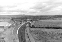 A general view east over Stranraer Town station on 5 September 1961 with the yard and shed standing just beyond.<br><br>[David Stewart&nbsp;05/09/1961]