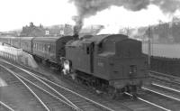 An oft-repeated scene at the south end of Beattock station in the early 1960s as Beattock shed's Fairburn 2-6-4 tank no 42192 prepares for <I>the big push</I>. <br><br>[David Stewart&nbsp;//]