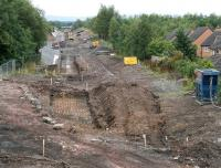 Progress at Newtongrange on 10 August 2014. View south over the site of the new station from the A7.<br><br>[John Furnevel&nbsp;10/08/2014]