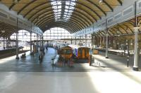 The west end bays at Newcastle Central on 9 July 2014. At platform 9 is a recently arrived TransPennine 185, while at 10 is the 14.30 Northern Trains service to Nunthorpe.<br><br>[Colin Miller&nbsp;09/07/2014]