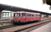 DB railbus 798726 looks to have seen better days as it awaits departure time alongside the platform at Bebra in July 1990.<br><br>[John McIntyre&nbsp;/07/1990]