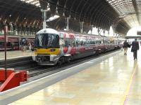 Heathrow Express 332010 in <I>Vodaphone</I> advertising livery at Paddington on 25 July.<br><br>[Bill Roberton&nbsp;25/07/2014]