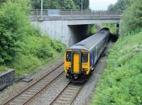 156487, climbing the last few yards of the bank from Daisyfield Junction, passes under the Blackburn ring road near Ramsgreave and Wilpshire station on a service for Clitheroe.<br><br>[Mark Bartlett&nbsp;27/06/2014]